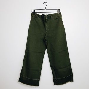 *Gap Wide Leg High-Rise Stretch Pants Army Green